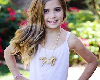 Magical Unicorn Kids Necklace - Unicorn Necklace - Unicorn Birthday Party - Gold Unicorn Pendant Necklace