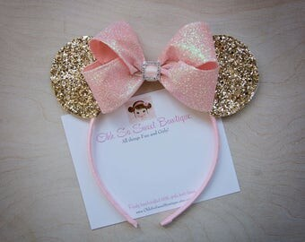 Fancy Gold and Pink Minnie Mouse Ears - Girls Minnie Ears - 1st 2nd 3rd Minnie Mouse Birthday