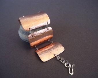 Copper Bracelet, Copper and Silver Bracelet, Copper Cuff Bracelet