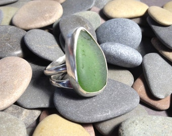Sea Glass Ring, Statement Ring, Adjustable Ring, Poros Collection, Green Sea Glass Ring