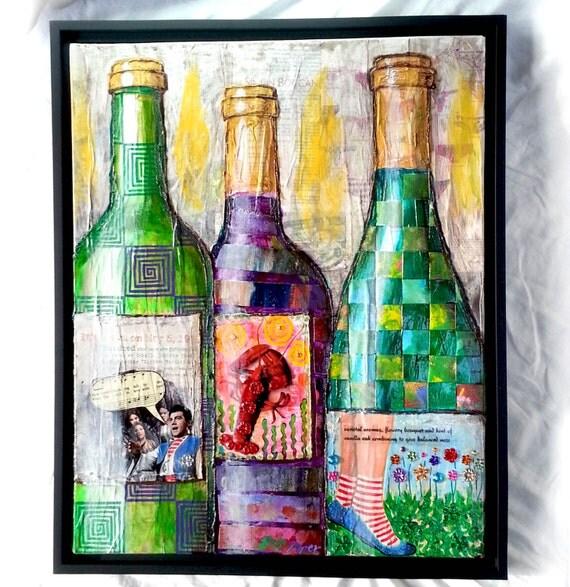 Purple Bowls Wine Bottels Modern Canvas Painting Wall Art: Framed Original Collage Art Painting Wine Bottles Lobster