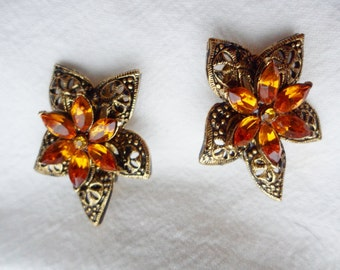 Vintage orange Rhinestone filigree Clip On Earrings