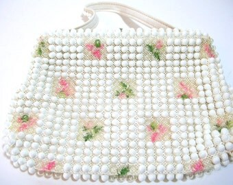 White Beaded Vintage Purse With Roses