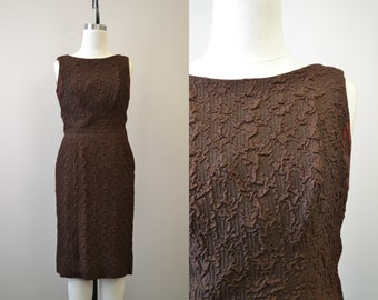 1950s Miss Candid Brown Low Back Wiggle Dress
