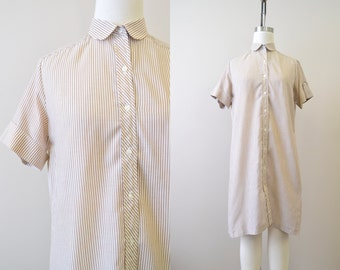 1960s Brown Striped Oxford Shirt Dress