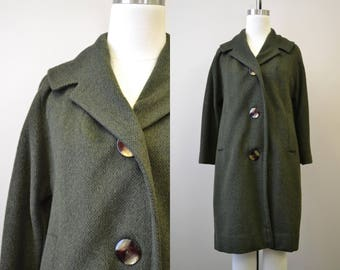 1950s Dark Olive Green Wool Coat