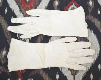 1950s Beige Leather Gloves, Size 7