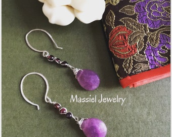 Long Garnet and Jade stone earrings with sterling silver metal