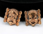 Renoir Copper Earrings -  Comedy Tragedy Masks, 1950s