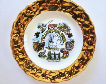 Vintage 22K Gold Yellowstone Park Plate, 40s Souvenir Plate, Old Faithful, Grotto Geyser, Grand Canyon, Lower Falls, Jackpot Jen