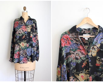 vintage rayon floral print blouse - ladies 80s silky rayon shirt / 90s rayon blouse - festival top / vintage floral print slouch shirt