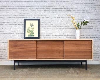 Roosevelt Credenza- Curly Maple - Single Slab Sapele Doors - In Stock!