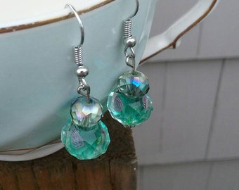 Shiny glass dangle earrings // green glass earrings // gifts for her under 15
