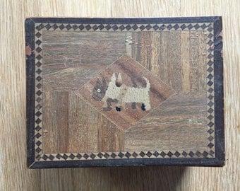 Vintage Wood Dog Keepsake Box