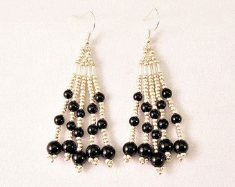 Beaded Silver And Black Onyx Natural Stone Fringe Earrings, Beaded Earring, Fringe Earring, Chandelier Earring, BOHO Earring