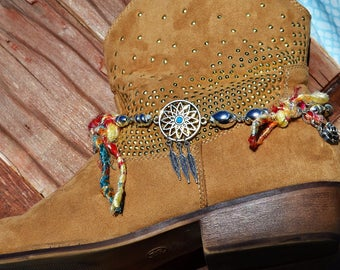 Dreamcatcher Boot Charm Bling Chain Anklet   Bohemian Gypsy Native American