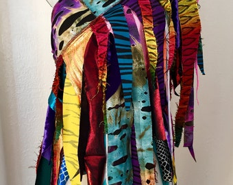 Upcycled wrap fringe skirt dance Burning Man Festival Fairy rainbow cirque coverup Faerie Tutu Pixie Renaissance Costume convertible