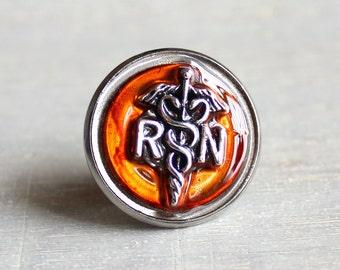 orange nurse pin, nursing pin, registered nurse, rn pin, tie tack, unique gift, graduation gift, nurse gift, nurse graduation, rn graduation