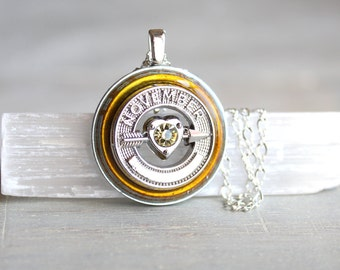 November birthday necklace, birthday gift, unique gift, November birthstone, birthstone necklace, heart necklace, November jewelry