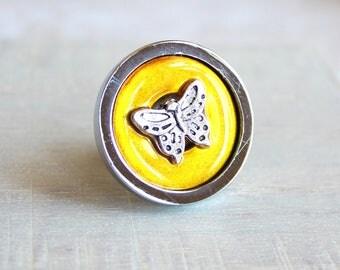 yellow butterfly drawer pull, decorative pull, cabinet knob, childrens room, dresser knob, dresser pull, drawer knob, kids decor