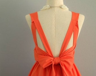 Christmas SALE A Party V Backless Dress Fresh Orange Dress Tangerine Prom Party Dress Wedding Orange Bridesmaid Dress Orange Cocktail Backle