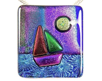 "SAILBOAT Sailing at Sunset - Dichroic Pendant AND Pin Combo - Blue Teal Purple Tie Dye Copper Pink Green Dichro Fused Glass - 1.5"" Inch 40mm"