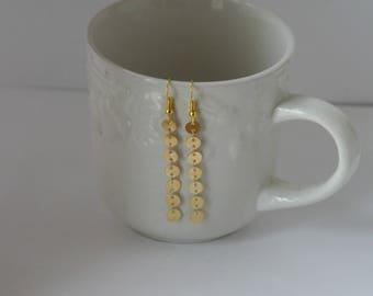 Gold Dot Coin Dainty Drop Dangle Earrings