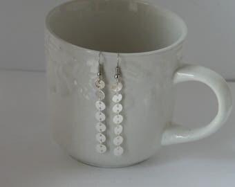 Silver Coin Circle Dot Drop Dangle Earrings