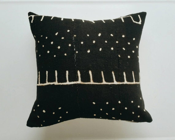 African Mudcloth Pillow Cover Black Tribal Bohemian Throw