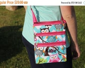 FALLSALE Aqua Chevron Pink Owl Messenger Hipster Pink Trim Tote Personalize or monogram Included