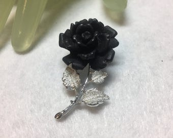 "Vintage 2""  Silvertone Black Ruffled Flower Style Pin"