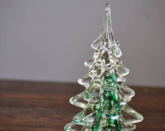 Silvestri Hand Blown Glass Christmas Tree Clear with green / Vintage Decor