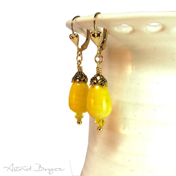 Lemon Drops Soft Yellow Artisan Lampwork Earrings with Gold Fill with Tiny Hearts for a Wonderful Thank You Gift for Her or Gift for Mom SRA