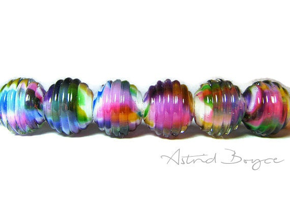 rainbow ribbed rounds artisan lampwork glass bead set for jewelry creations by jewelry designers