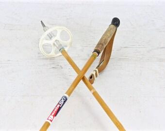 Bamboo Ski Poles, Vintage Ski Poles, Garcia Ski Poles, Old Ski Poles, Ski Lodge Decor, Vintage Cabin Decor, Rustic Decor, Winter Decor