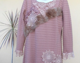 """20%OFF bohemian dress/jumper in dried rose hues with matching collar/headband....medium to 38"""" bust.."""