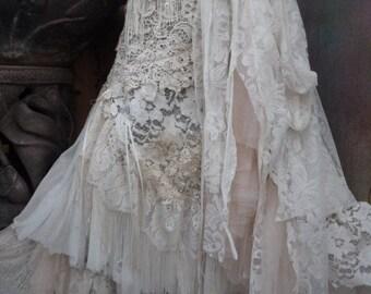 20%OFF RESERVEDwedding,tattered skirt, boho, mori girl, stevie nicks, bohemian skirt, gypsy skirt, white lace skirt, bellydance, wrap skirt