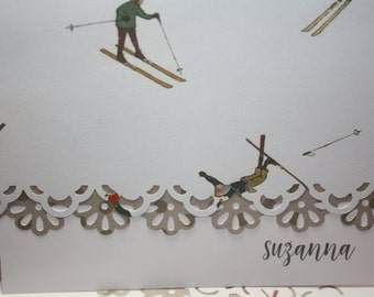 Hit the slopes! Note card for the skiing enthusiast - note cards set of 10