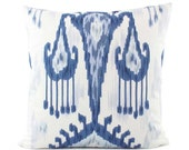 Robert Allen Ikat Pillow Cover, 18x18, 20x20, 22x22, 24x24 Euro or Lumbar, Blue and White Pillow Cover, Throw Pillow, Accent Pillow, Khandar