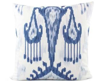 Robert Allen Ikat Pillow Cover, 18x18, 20x20, 22x22, 24x24 Euro or Lumbar, Blue and White Pillow Cover, Throw Pillow, Accent Pillow, Khandar