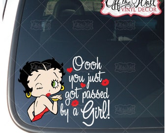 """Betty Boop """"You just got passed by a Girl"""" Car/Truck Vinyl Decal Sticker #BK2"""