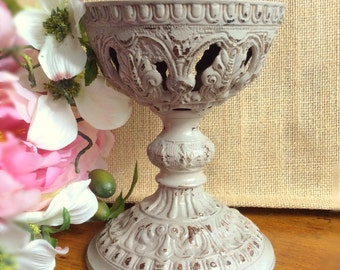 VIntage Distressed Shabby Metal Candle Holder Repurposed