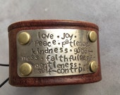 Leather cuff with stamping, fruit of the spirit, Galatians 5:22, Christian jewelry