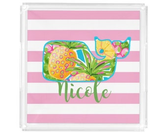 """Personalized Lucite Tray - Monogram Vanity / Perfume Square Tray - 8"""" x 8"""" - Hostess Gift - Decorative Tray - Preppy Whale Stripes"""