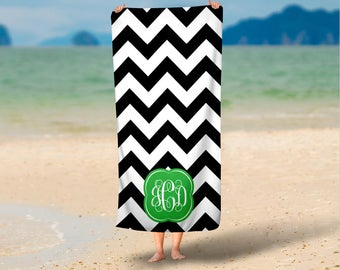 Personalized Micro Fiber Velour Beach Towels- Custom Design your Own Beach Towel with Monogram, Camp Towel