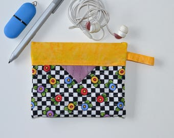 Cotton Cosmetic Pouch, Patchwork Quilted Snap Bag, Jewellery Pouch Yellow Black