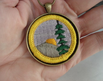Vintage Girl Scout Nature Badge in Antique Gold Pendant Setting 24 Inch Necklace Wearable Textile Artwork