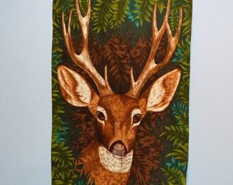 Vintage Deer Barkcloth Wall Art