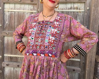 Pink floral dress pure cotton , kutch embroidery , with sleeves , size xl ,