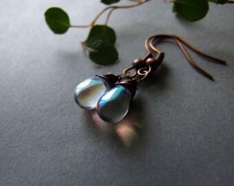 SALE Moon Drop Earrings, Moonstone Style Shiny Drops Dangle Earrings, Gift for Her, Small Glass Drop Earrings